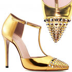 37 38 NEW $895 GUCCI Gold METALLIC Leather Coline STUDDED TOE T STRAP HEELS 6 8