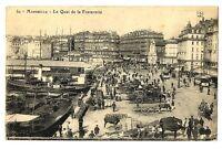 CPA 13 Bouche du Rhône Marseille Le Quai de la fraternité animé charettes