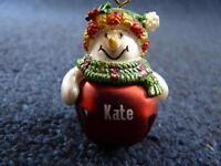Cute GANZ Personalized Name SNOWMAN Jingle Bell Ornament K thru P