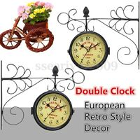 Vintage Antique Double Sided Wall Mount Station Clock Home Hallway Garden Decor