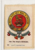 #98 15th (The King's) Hussars Military Crest & Badge Silk Card