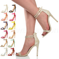 Womens ladies high heel ankle strap barely there prom party evening sandals size