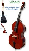 BLUEGRASS ROCKABILLY UPRIGHT 3/4 STAND UP BASS W/BAG/BOW/TUNER/EXTRA STRINGS