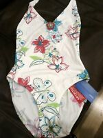 kaleidoscope RESORT NEW white FLOWER PRINT SWIMSUIT - SIZE UK 10