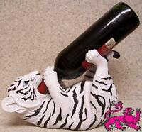 Wine Bottle Holder and/or Decorative Sculpture Striped White Tiger NEW