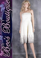 Ex OASIS Cream Black Prom Dress Size 16-18 Ladies Wedding Evening Party Womens