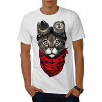 d360d65ef10 Wellcoda Aviator Fashion Cool Cat Mens T-shirt