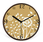 European Mute Brown Frame Wooden 32*32*4.5 CM Living Room/Bedroom Wall Clock E41