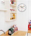 E41 European Quartz Clock White 12 Inches Mute Trees Pattern Round Wall Clock