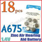 18x A675 PR44 7003ZD 1.4V Zinc Air Hearing Aid Battery