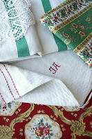 Antique Vintage French fabrics materials ~ CHRISTMAS project bundle ~ for crafts