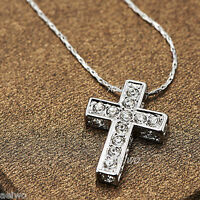 9K GF 9CT WHITE GOLD FILLED MADE WITH SWAROVSKI CRYSTAL CROSS PENDANT NECKLACE