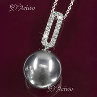 PENDANT NECKLACE 9K GF 9CT WHITE GOLD GF MADE WITH SWAROVSKI CRYSTAL BLACK PEARL