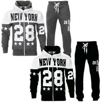 Boys Hooded New York Squad Fleece Zip Up Warm Jogging Tracksuit Set Size
