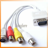 New VGA to TV S-Video RCA AV 3 Adapter Cable for Laptop PC Hot