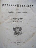 Staats-Anzeiger für das Großherzogthum Baden 1880 Nr. I bis XLIX Staatsanzeiger