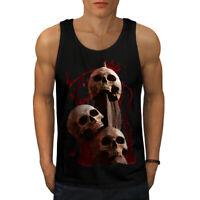 Wellcoda Bloody Skeleton Art Mens Tank Top, Bloody Active Sports Shirt