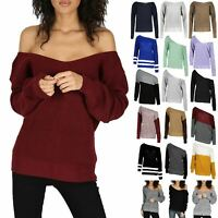 Womens Off Shoulder Oversized Jumper Ladies V Neck Chunky Knitted Bardot Top