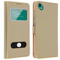 Housse Wiko Sunny 2 Plus Etui Double Fenêtre Coque Silicone Gel - Or