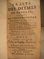 ANCIEN LIVRE TRAITE DES DIXMES SUIVANT LA JURISPRUDENCE TOME SECOND 1731