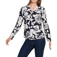 TOMMY HILFIGER NEW Women's Navy Floral Print Cross-neck Blouse Shirt Top TEDO