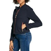 TOMMY HILFIGER NEW Women's Navy Quilted Zip-pocket Jacket Top 10 TEDO
