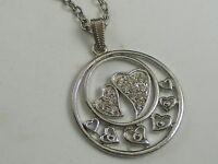 Silvertone Rhinestone Heart Circle Pendant Necklace (A22)