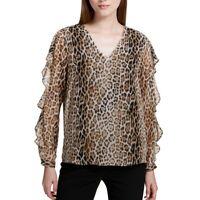 CALVIN KLEIN NEW Women's Printed Ruffle-sleeve V Neck Blouse Shirt Top TEDO