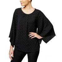 VINCE CAMUTO Women's Black Polka Dot Pleated Neckline Blouse Shirt Top TEDO