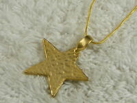 Hammered Matte Goldtone Star Pendant Necklace (C41)