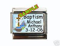 Baptism ANY NAME & DATE Custom Italian Charm baby blue
