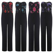 New ladies Plus Size Bandeau Boob Knot Palazzo Floral Jumpsuits One Piece Dress