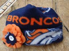 Denver Broncos Fleece Flower Hat Sizes Newborn Baby Girls, Children, Adult women