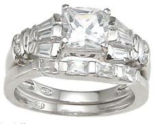 Ring Set Bridal Silver Size 5-9 1.5 Ct Princess Cut Wedding Band Engagement