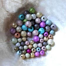 10 PERLES MÉTAL - granitées stardust - 2 lots différents - 6MM OU 8MM - MULTICOL