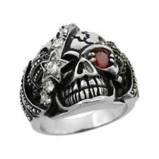 Surgical Steel Biker Skull Ring White CZ Eye patch Red Eye Crown Sizes 9-15