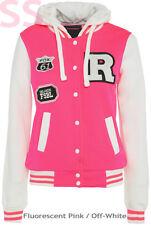 Womens BASEBALL HOODY JACKET Ladies Girls Hoodie FLUORESCENT Size 8 10 12 14