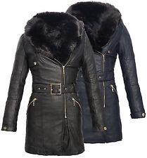 femmes simili-cuir Manteau avec capuche veste en cuir noir longue d73/d57