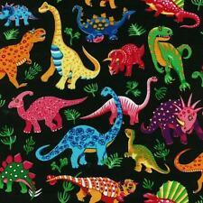 Fat Quarter Dinosaur Dance on Black Cotton Quilting Fabric Nutex