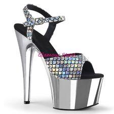 Sexy SANDALI tacco 18 da 35 al 42 ARGENTO cromato plateau scarpe GLAMOUR club