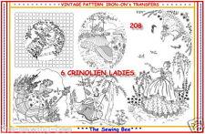 208 ~ 6 Crinoline Lady - Ladies Embroidery  IRON-ON Transfers Patterns