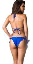 Coqueta Bikini BOTTOM + TOP Bathing Suit ROYAL Ruched BEACHWEAR RUFFLES WOMEN'S