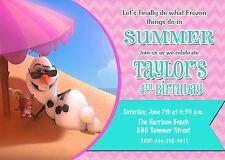 Frozen, Olaf, Snowman, Pink, Girl, Birthday Party Invitation