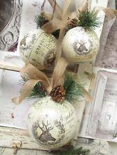 Weihnachtskugeln groß Elch Hirsch Shabby Tür Fenster Deko Winter Antik Nostalgie
