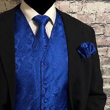 ROYAL BLUE Paisley Tuxedo Suit Dress Vest Waistcoat & Neck tie & And Hankie SET