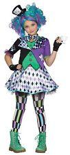 Mad Hatter Costume Girls Alice in Wonderland Fancy Dress Purple Green MD-XL