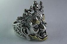 Shiva diosa cara Biker Skull calavera máscara plata 925 anillo de plata/430