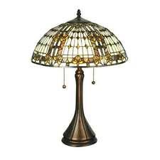 "Meyda Lighting 22.5""H Fleur-De-Lis Table Lamp, Beige Ha Green/Blue Amber - 27031"
