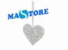 set 10 pezzi decorazione natale cuore in vimini bianco da appendere con laccio