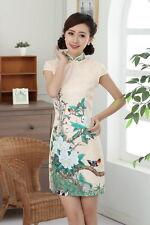 Jolie Mini Robe Chinoise Qi-Pao Beige en Coton Tissé Imprimé Tailles au choix